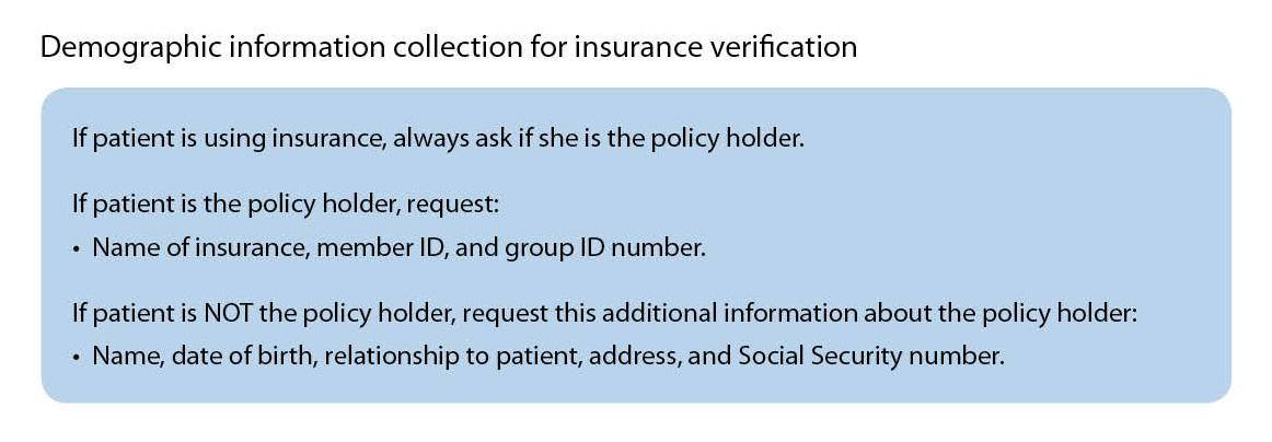 Demographic information collection for insurance verification
